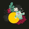 Owl with the moon banner vector illustration Royalty Free Stock Photography