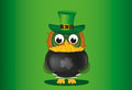 An owl in a national costume for a patrician`s day holds a pot