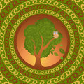 Owl on oak looking abroad vector illustration for your design eps Royalty Free Stock Photos