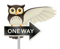Owl on a one way sign illustration of an gesturing with its wing while perched atop Royalty Free Stock Photos