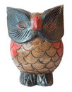 Owl ornament sculpture in painted wood Royalty Free Stock Image