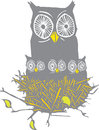 Owl and owl chicks woodcut style image of a nest full of baby owls mother Stock Image