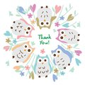 Owl pastel around circle thank you card