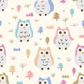 Owl pastel colorful six style seamless pattern