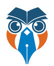 Owl pen and book Royalty Free Stock Photo