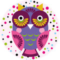 Owl on a pink background in colored polka dots. Vector