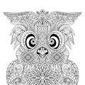Owl Portrait mandala zentangle Royalty Free Stock Photo