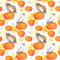 Owl on pumpkin. Halloween watercolor repeating pattern Royalty Free Stock Photo