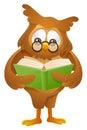 Owl - reading book Stock Photo