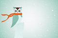 Owl in red neckerchief vector on stump winter illustration Stock Photo