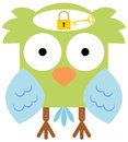Owl s mind a cartoon with a padlock and a key on it Stock Images