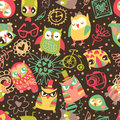 Owl seamless background with flower and fashionable things. Hear Royalty Free Stock Photos