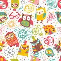 Owl seamless background with flower and fashionable things. Hear Royalty Free Stock Images