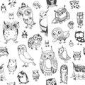 Owl Seamless Background. Monoc...