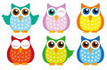 Owl set of six cute owls Stock Photography