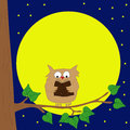 Owl sitting on a branch reading book by moonlight.