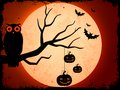 Owl sitting on tree in halloween night vector illustration of Royalty Free Stock Photography