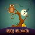 Owl sitting on tree in scary halloween night illustration of Royalty Free Stock Photo