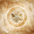 Owl spirit face enclosed within a corroded ring of mysterious carved runic symbols against a background of floating feathers Stock Photography