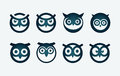Owl symbol set vector circle based head Royalty Free Stock Photo