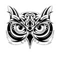 Owl tattoo shape head with ethnic elements Royalty Free Stock Photography