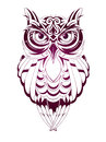 Owl tattoo vector illustration with isolated on white Stock Photo