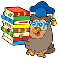 Owl teacher holding pile of books Stock Image