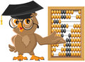 Owl teacher showing abacus Royalty Free Stock Photo