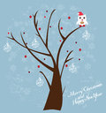 Owl in the tree illustration of santa hat sitting Stock Photography