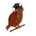 An owl wearing a graduation cap vector art illustration on white background Stock Photography