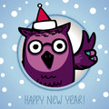 Owl on winter background in santa claus hat retro style eps Royalty Free Stock Photo