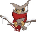 Owl in the winter cartoon dressed a scarf sits on a branch Royalty Free Stock Photography