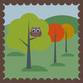 Owl in the woods vector drawing Royalty Free Stock Photography