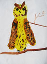 Owl yellow brown child picture Royalty Free Stock Photos