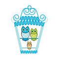 Owls in a birdhouse Royalty Free Stock Photos
