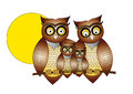 Owls cartoon on white background Stock Photo