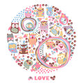 Owls circle background love card template for design cartoon g greeting Stock Image