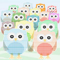 Owls Collection cute and colorful. vector Stock Photos