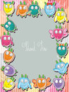 Owls families frame illustration of cute place on with thank you Royalty Free Stock Photography