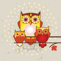 Owls family  illustration Royalty Free Stock Photos