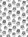 Owls hand drawn pattern