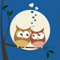 Owls in Love Royalty Free Stock Photo