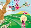 Owls in love on spring scenery illustration Royalty Free Stock Photo