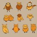 Owls set. Doodle hand drawn