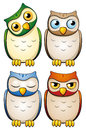 Owls set of four cute Royalty Free Stock Images