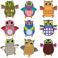 Owls set funny isolated on the white Royalty Free Stock Photography