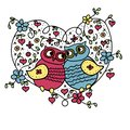 Owls, he and she sit in the heart