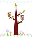 Owls sitting on branches illustration Royalty Free Stock Photos