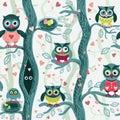 Owls in spring seamless pattern in Scandinavian style.