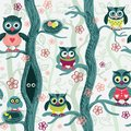Owls in spring seamless pattern in Scandinavian style.